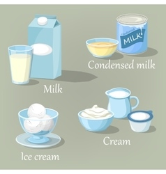 Ice cream and cream condensed milk or kefir vector