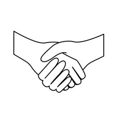 Sketch silhouette handshake agreement icon flat vector