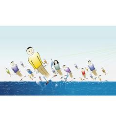 people fishing vector image