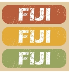 Vintage fiji stamp set vector