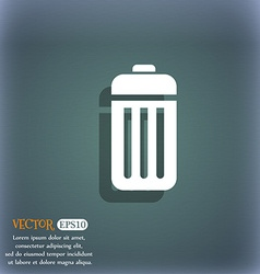 The trash icon symbol on the blue-green abstract vector