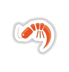 Stylish paper sticker on white seafood shrimp vector
