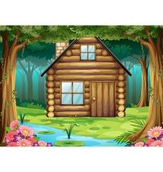 Wooden hut in the forest vector image