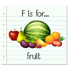 Flashcard letter f is for fruit vector