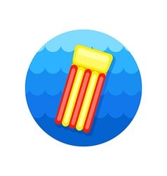 Floating mattress on beach icon summer vacation vector