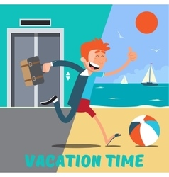 Businessman runs away from the office to vacation vector