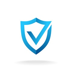 Shield with check mark badge logo Secure is ok vector image