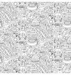 Aquapark doodle seamless pattern vector