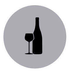 blue emblem wine bottle with glass icon vector image vector image