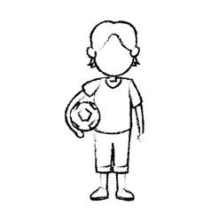 cartoon boy kid holding ball soccer image vector image