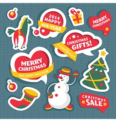 Christmas labels and decoration elements vector image vector image
