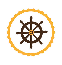 circular frame with boat helm vector image vector image
