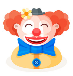 Colorful cartoon happy redhead clown character vector