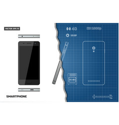 drawing of outline smartphone industrial blueprint vector image vector image