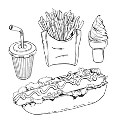 Fast food set isolated on white vector image vector image