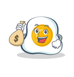 Fried egg character cartoon with money bag vector