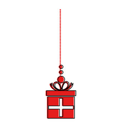 giftbox present hanging icon vector image