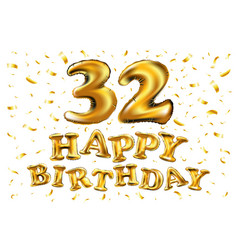 golden number 32 thirty two of inflatable balloon vector image
