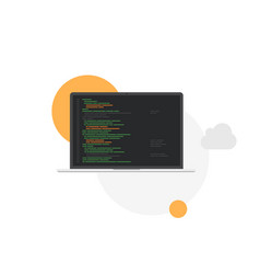laptop programming development system flat vector image