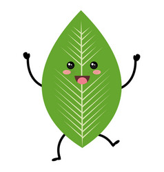 Leafs plant ecology kawaii character vector