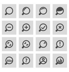 Line magnifying glass icons set vector