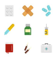 Medication icon set flat style vector
