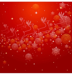 Merry Christmas reindeer shape and snowflakes vector image