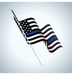 Police support flag waving vector