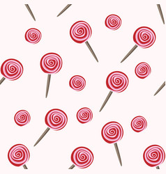red lollipops seamless pattern vector image