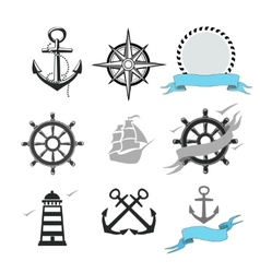 Set marine icons vector