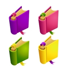 Set of cartoon different color book vector image vector image