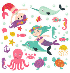 set of isolated mermaid with marine animals vector image