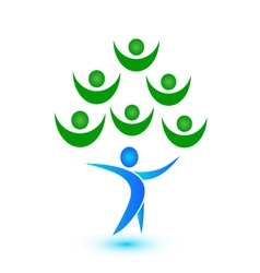 Teamwork tree logo vector image vector image