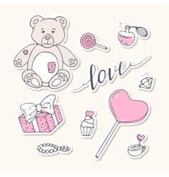 Valentine day stickers collection with LOVE hand vector image vector image