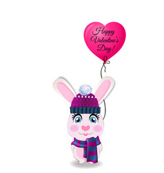 Valentines card with cute rabbit in knitted hat vector