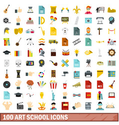 100 art school icons set flat style vector