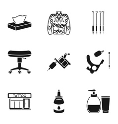 Tattoo studio set icons in black style big vector