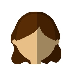 Avatar woman face brunette hair shadow vector