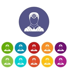 Ophthalmologist with head mirror set icons vector