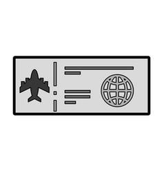 grey airplane ticket cartoon vector image