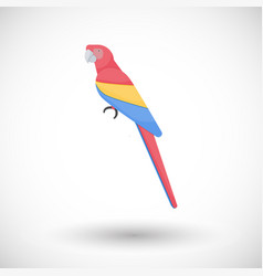 Scarlet macaw bird flat icon vector