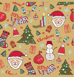 Christmas vintage pattern new year whimsical vector