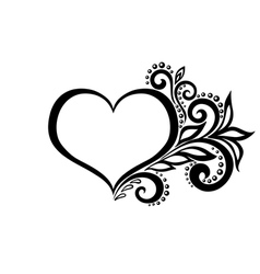 Silhouette of the heart of lace flowers vector