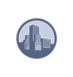 Urban skyscraper buildings circle vector