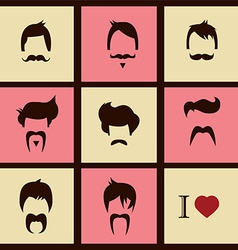 Collection of hipster retro hair styles and vector