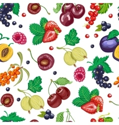 Summer seamless pattern with garden berries on a vector