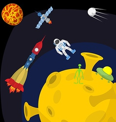 Space landscape moon and alien ufo and rocket vector
