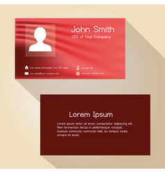 Simple red abstract color business card design vector