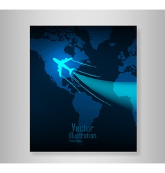 World travel map with airplanes book vector