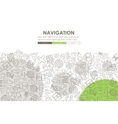 Navigation doodle website template design vector